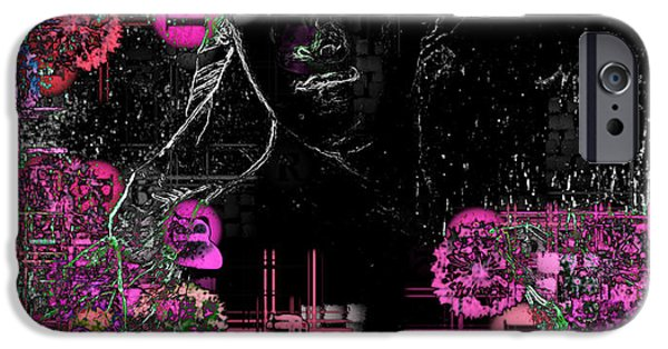 Floral Digital Art iPhone Cases - Portrait in Black - s01-02b iPhone Case by Variance Collections