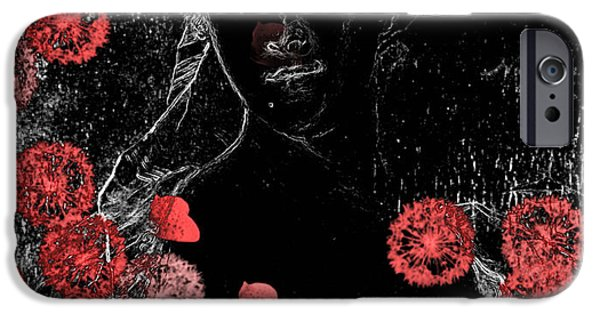 Floral Digital Art iPhone Cases - Portrait in Black - s0201b iPhone Case by Variance Collections