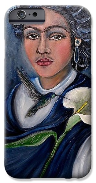 Young Paintings iPhone Cases - Portrait in blue iPhone Case by Jesu Ramos
