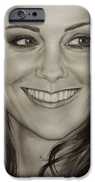 Kate Middleton iPhone Cases - Portrait Kate Middleton detail iPhone Case by Natalya Aliyeva