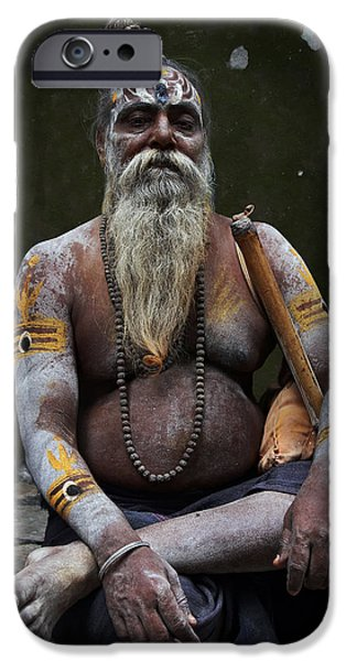 Accomplice iPhone Cases - Portrait o Sadhu III iPhone Case by Gilles Lougassi