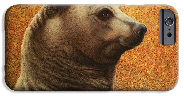 Black Bear iPhone Cases - Portrait of a Bear iPhone Case by James W Johnson