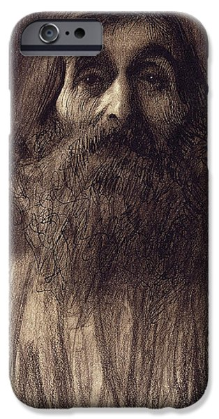 Signed Pastels iPhone Cases - Portrait of a Bearded Man iPhone Case by Gustav Klimt