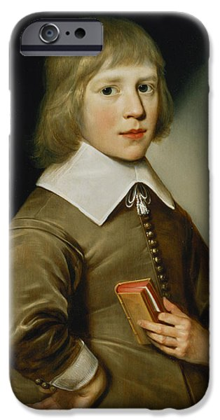 Laces iPhone Cases - Portrait Of A Boy Oil On Panel iPhone Case by Wybrand Simonsz. de Geest
