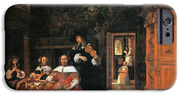 Domestic Scene iPhone Cases - Portrait of a family playing music iPhone Case by Pieter de Hooch