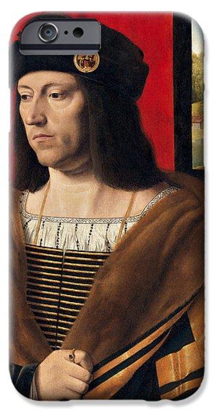 Aristocrat iPhone Cases - Portrait of a Gentleman iPhone Case by Bartolomeo Veneto