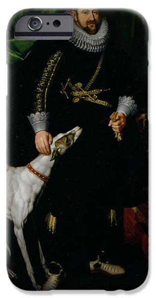 Flemish iPhone Cases - Portrait Of A Gentleman Said To Be From The Coudenhouve Family Of Flanders, C.1610-20 Oil On Canvas iPhone Case by Hispano-Flemish School