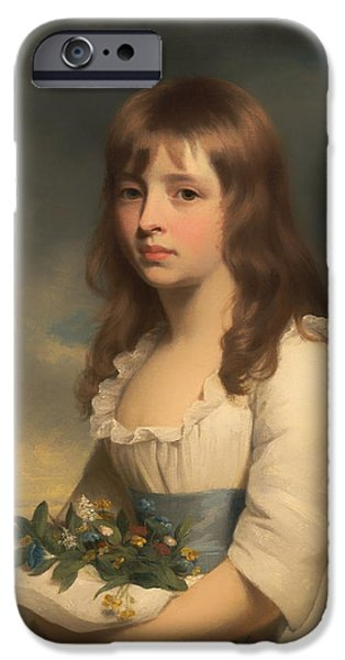 Dark Skies Paintings iPhone Cases - Portrait of a Girl iPhone Case by William Beechey