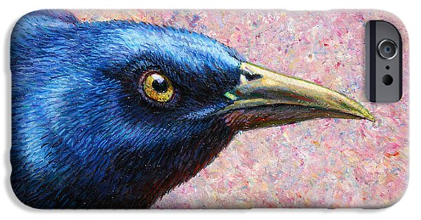 Crows Paintings iPhone Cases - Portrait of a Grackle iPhone Case by James W Johnson