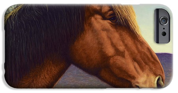 Ranch iPhone Cases - Portrait of a Horse iPhone Case by James W Johnson