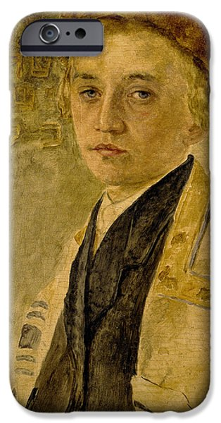 Young Paintings iPhone Cases - Portrait of a Jewish Boy  iPhone Case by Isidor Kaufmann