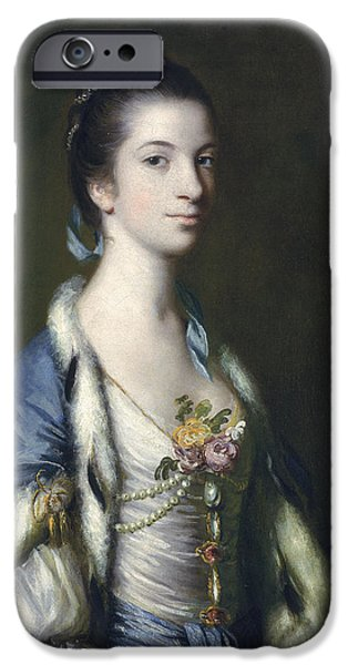 18th iPhone Cases - Portrait Of A Lady, 1758 Oil On Canvas iPhone Case by Sir Joshua Reynolds