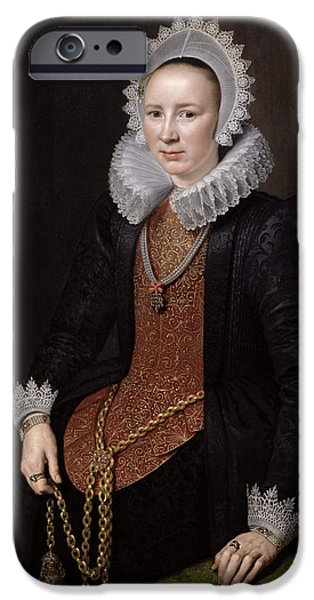 Chain-ring iPhone Cases - Portrait Of A Lady Aged 29, 1615 Oil On Panel iPhone Case by Michiel Jansz. van Miereveld