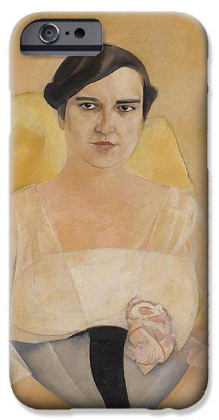 Young Paintings iPhone Cases - Portrait Of A Lady iPhone Case by Celestial Images