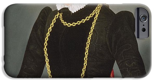 Chain-ring iPhone Cases - Portrait Of A Lady, C.1585 iPhone Case by Lorenz Strauch