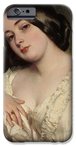 Young Paintings iPhone Cases - Portrait of a lady iPhone Case by Franz Xaver Winterhalter