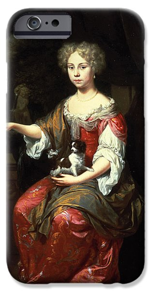 Pearls iPhone Cases - Portrait Of A Lady Holding Her Pet King Charles Spaniel Oil On Canvas iPhone Case by Jan Verkolje