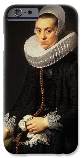 Laces iPhone Cases - Portrait Of A Lady In A Black Dress iPhone Case by Nicolaes Eliasz