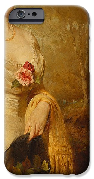 Three-quarter Length iPhone Cases - Portrait of a Lady in a White Dress iPhone Case by George Elgar Hicks