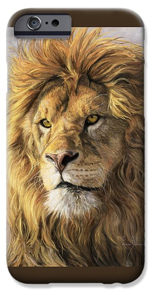 Paintings iPhone Cases - Portrait Of A Lion iPhone Case by Lucie Bilodeau