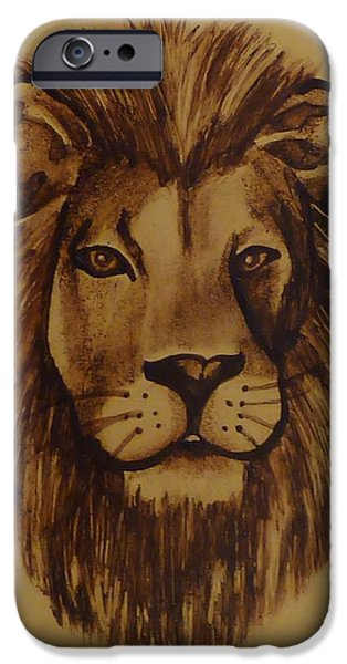 Animal Glass iPhone Cases - Portrait of a Lion iPhone Case by Samantha  Calder