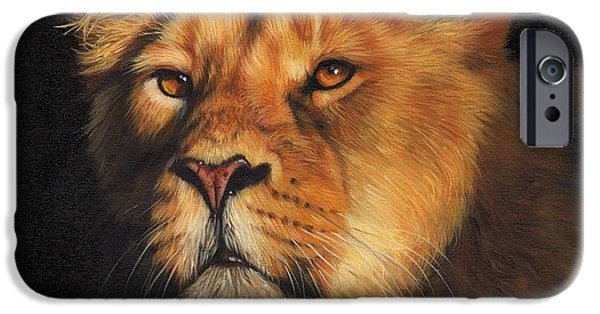 Lion Print iPhone Cases - Portrait of a Lioness iPhone Case by David Stribbling