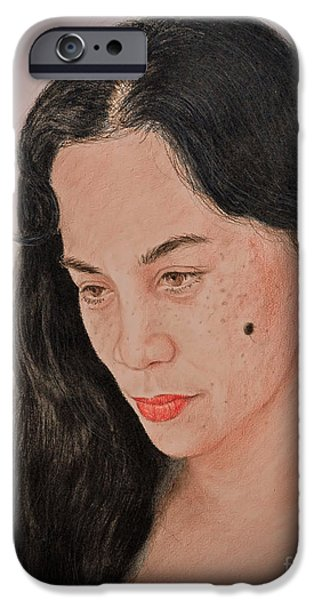 Beauty Mark iPhone Cases - Portrait of a Long Haired Filipina Beautfy with a Mole on Her Cheek Fade to Black Version iPhone Case by Jim Fitzpatrick