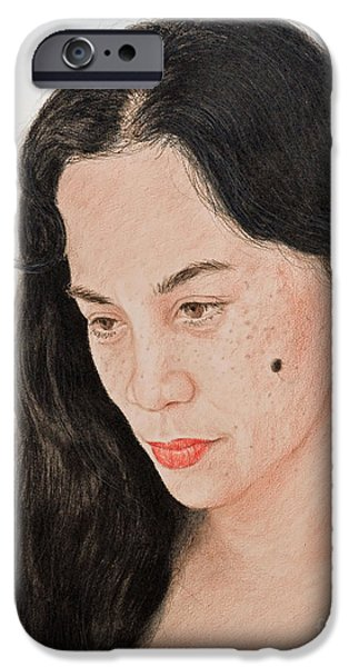Beauty Mark iPhone Cases - Portrait of a Long Haired Filipina Beautfy with a Mole on Her Cheek iPhone Case by Jim Fitzpatrick