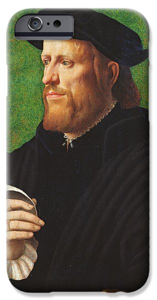 Thinking iPhone Cases - Portrait Of A Man, 1575 Oil On Wood iPhone Case by Dutch School