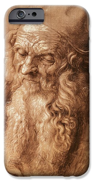 Beard iPhone Cases - Portrait Of A Man, Aged Ninety-three, 1521 Pen And Ink iPhone Case by Albrecht Dürer or Duerer