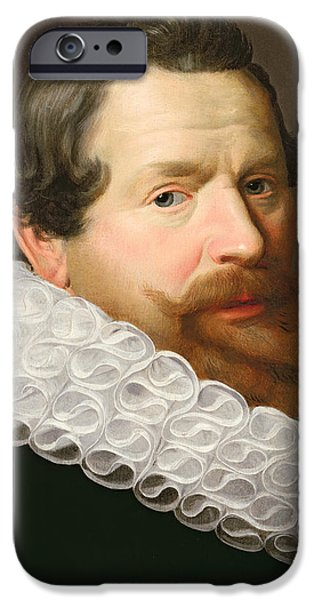 Mustaches iPhone Cases - Portrait of a Man Wearing a Ruff iPhone Case by Dutch School
