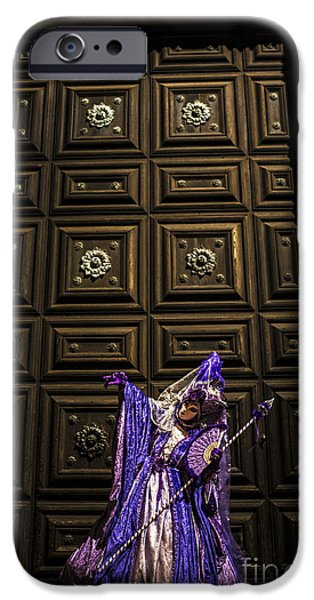Venetian Doors iPhone Cases - Portrait of a mask IV iPhone Case by Yuri Santin