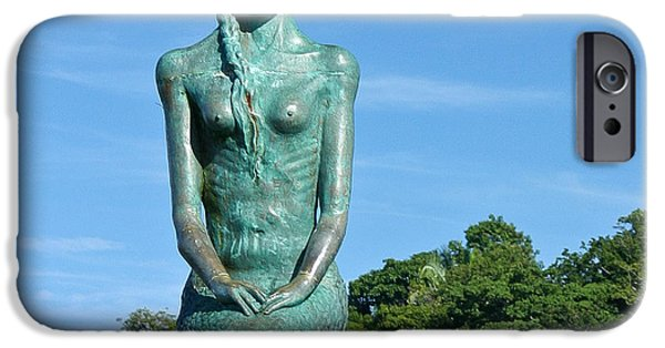 Statue Portrait iPhone Cases - Portrait of a Mermaid iPhone Case by Michelle Wiarda