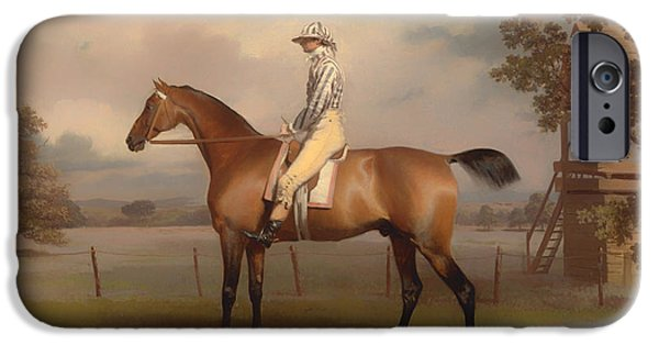 Horse Racing iPhone Cases - Portrait of a Race Horse iPhone Case by George Garrard