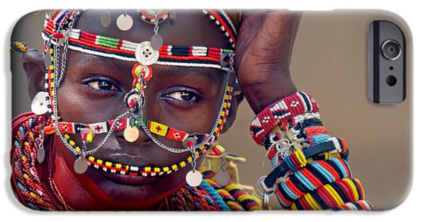 Women Only iPhone Cases - Portrait Of A Samburu Maiden iPhone Case by Panoramic Images