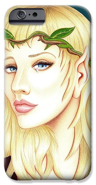 Weeping Drawings iPhone Cases - Portrait of a She Elf iPhone Case by Danielle R T Haney