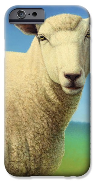 Farm Animals Paintings iPhone Cases - Portrait of a Sheep iPhone Case by James W Johnson