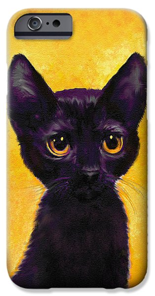 Lucifer iPhone Cases - portrait of a small black cat named  LuLu iPhone Case by Jane Schnetlage