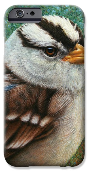 Stripes iPhone Cases - Portrait of a Sparrow iPhone Case by James W Johnson