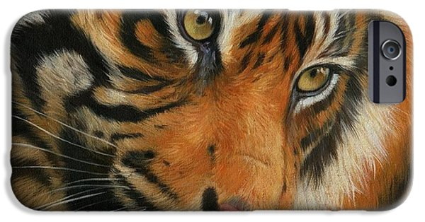 Oil Portrait Photographs iPhone Cases - Portrait of a Tiger iPhone Case by David Stribbling