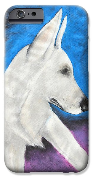 Police Pastels iPhone Cases - Portrait Of A White Shepherd iPhone Case by Jeanne Fischer