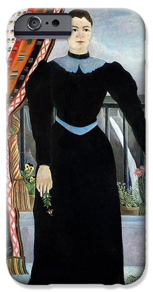 Balcony iPhone Cases - Portrait Of A Woman, 1895 Oil On Canvas iPhone Case by Henri J.F. Rousseau