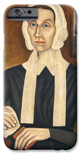 Quaker iPhone Cases - Portrait Of A Woman, C. 1845 Oil On Canvas iPhone Case by Thomas Skynner