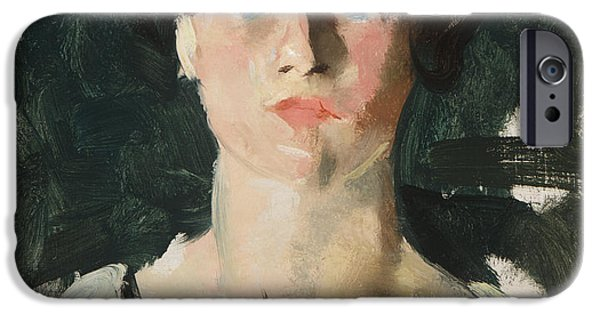 Young Paintings iPhone Cases - Portrait of a woman iPhone Case by Charles Webster Hawthorne