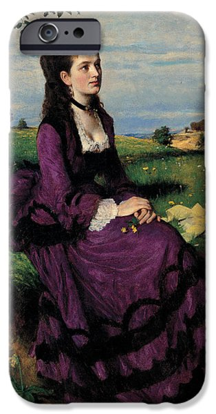Sit-ins Paintings iPhone Cases - Portrait of a Woman in Lilac iPhone Case by Pal Szinyei Merse