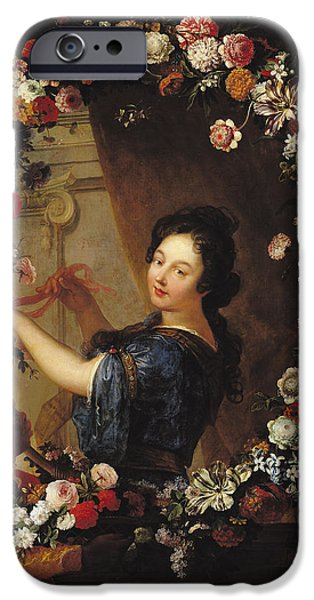 Duchess Photographs iPhone Cases - Portrait Of A Woman Surrounded By Flowers, Presumed To Be Julie Dangennes Oil On Canvas iPhone Case by J-B. Belin de Fontenay