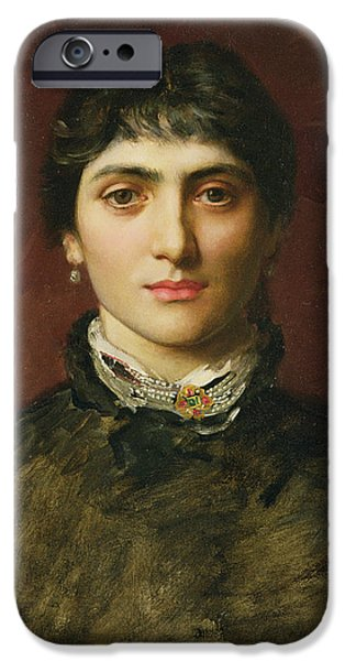 Woman With Black Hair iPhone Cases - Portrait of a Woman with Dark Hair iPhone Case by Valentine Cameron Prinsep