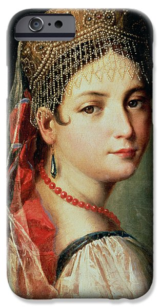 Youthful Paintings iPhone Cases - Portrait of a Young Girl in Sarafan and Kokoshnik iPhone Case by Mauro Gandolfi