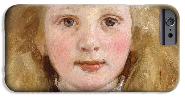 Young Paintings iPhone Cases - Portrait of a Young Girl iPhone Case by James Charles