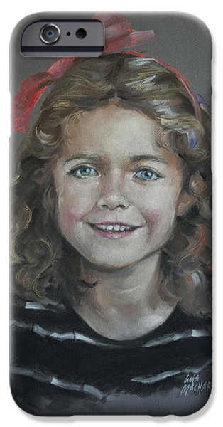 Stripes Pastels iPhone Cases - Portrait of a Young Girl iPhone Case by Mary Machare